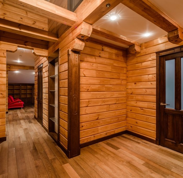 View of inside of a modern log cabin