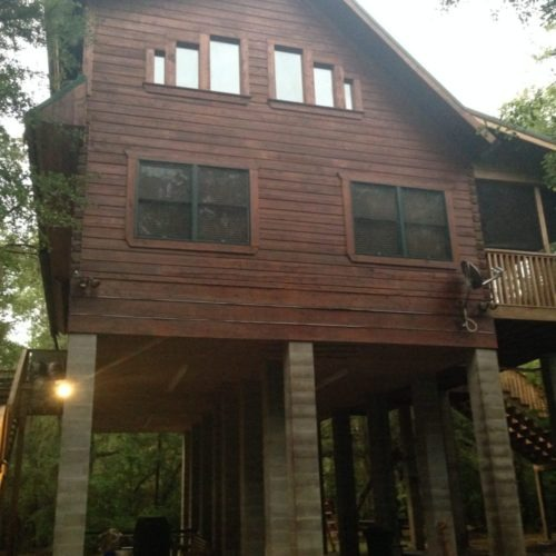 Log Home Cleaned, Energy Sealed, Stained